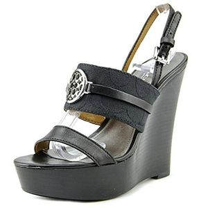 Coach Beatriz black leather wedge shoes size 8